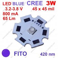 3Вт глубокий синий фито светодиод CREE 420нм, для роста растений