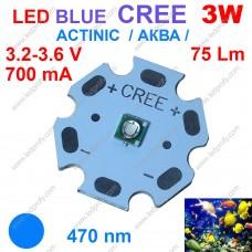 3Вт синий светодиод CREE 470нм, для аквариума