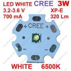 3Вт белый светодиод CREE XP-E  6500К