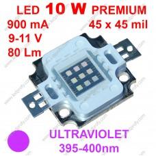 10Вт ультрафіолетовий світлодіод 395-400нм, 80Лм, 9-11В 900мА