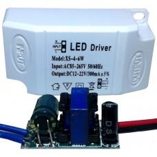Драйвер питания от сети 4-6шт 1Вт светодиодов 300мА
