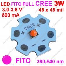 Стандарт 3Вт фито светодиод CREE 380-840нм, для роста растений.