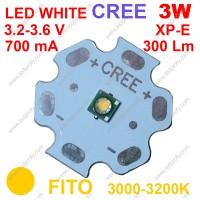 3Вт белый фито светодиод теплого свечения CREE XP-E  3000К