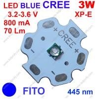 3Вт синий фито светодиод XP-E  CREE 445нм, для роста растений