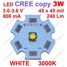 3Вт белый светодиод CREE копия XP-E  3000К