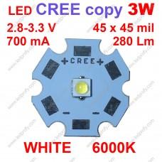 3Вт белый светодиод CREE копия XP-E  6000К