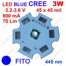 3Вт синий фито светодиод CREE 445нм, для роста растений