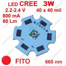 3Вт красный фито светодиод CREE 660нм, для роста растений