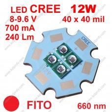 12Вт красный фито светодиод CREE 660нм, для роста растений