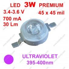 3Вт ультрафиолетовый светодиод 395-400нм, 30Лм, 3.4-3.6В 700мА