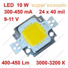 Бюджетный 10Вт светодиод теплого свечения 3000К 450Лм класса супер эконом.