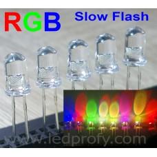 RGB светодиод медленно мигающий, многоцветный, двух выводной. 100шт