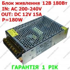 Блок питания 12В 15А 180Вт MN-180-12