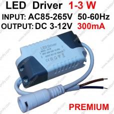 Премиум 3Вт LED драйвер для 1-3шт 1Вт светодиодов 300мА