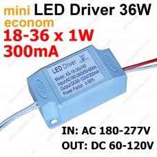 36Вт Econom mini LED драйвер для светильника 18-36шт х1Вт светодиодов