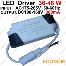 48Вт Econom LED драйвер для питания от сети 36-48шт х1Вт светодиодов 300мА