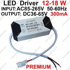 18Вт Premium LED драйвер для питания от сети 12-18шт х1Вт светодиодов 300мА