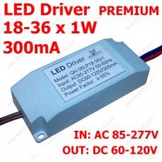 LED драйвер Premium 18-36х1Вт светодиодов 300мА, питание 85-265В