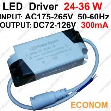 36Вт Econom LED драйвер для питания от сети 24-36шт х1Вт светодиодов 300мА