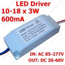 LED драйвер 10-18х3Вт светодиодов 600мА, в корпусе