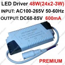 Премиум LED драйвер 48Вт  600мА 68-85В для 24шт светодиодов мощностью 2-3Вт