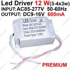 12Вт Led Driver для питания от сети 3-4 штук 3Вт светодиодов 600мА