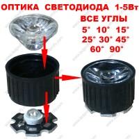 Коллиматор, оптика для светодиода 1-5Вт в сборе, линза и держатель.