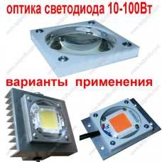 Герметичная, защитная оптика для светодиодных матриц мощностью 10-100Вт