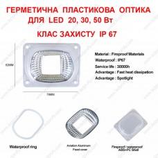Защитная, герметичная пластиковая оптика для LED 20-50Вт